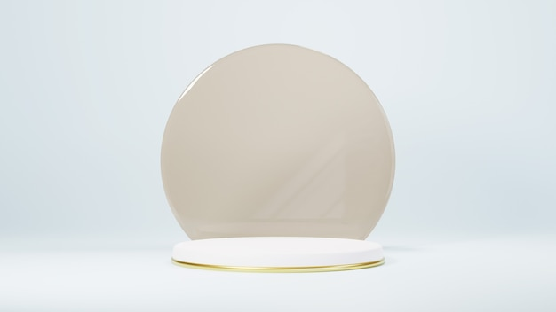 3d rendem do pódio de design de luxo mínimo em fundo branco. vitrine do produto.