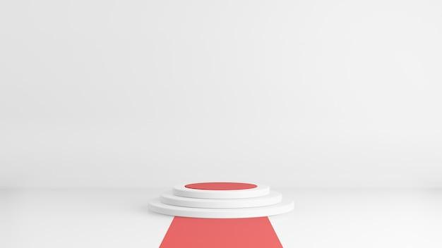 3d rendem do pódio ou do suporte mínimo do estilo no fundo branco com tapete vermelho. conceito abstrato.