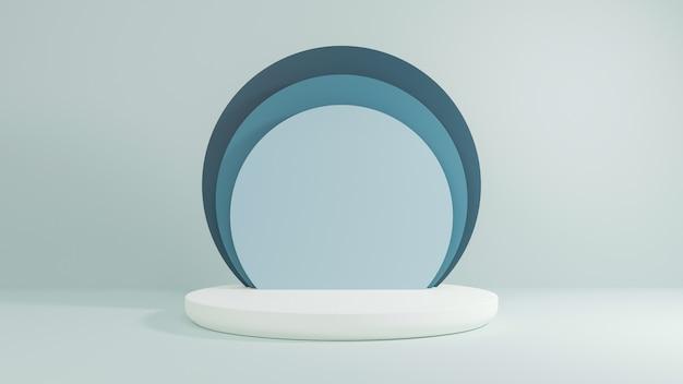 3d rendem do pódio ou do suporte mínimo do estilo no fundo pastel. conceito abstrato.