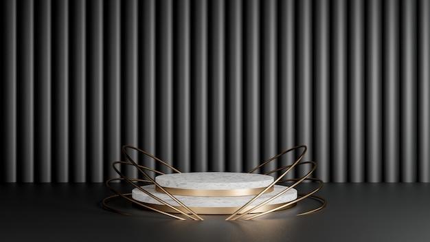 3d rendem do polígono mínimo do estilo com mármore branco e forma dourada. abstraia o conceito isolado do fundo.