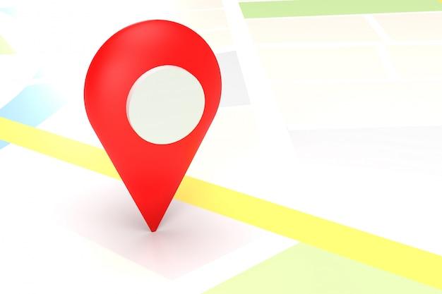 3d rendem do ponteiro vermelho do mapa no mapa gps