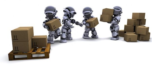 3d rendem do robô com caixas de transporte
