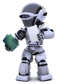 3d rendem do robô com documento e pasta