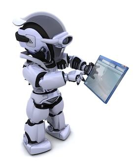 3d rendem do robô navegar através da janela do computador