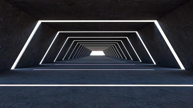 3d rendem do sumário em um grande salão, forma do hexágono