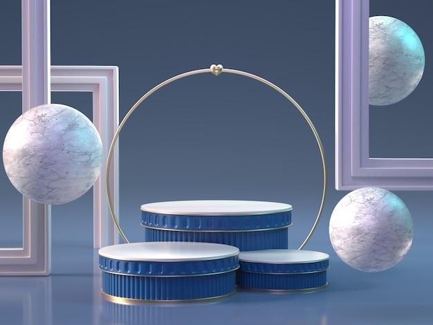 3d rendem dos pódios com esferas e molduras