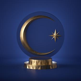 3d rendem. emblema árabe abstrata. crescente dourado e estrela de cristal, isolada no fundo azul. tábua redonda, cópia espaço, degraus do cilindro, pódio, pedestal. cor azul 2020