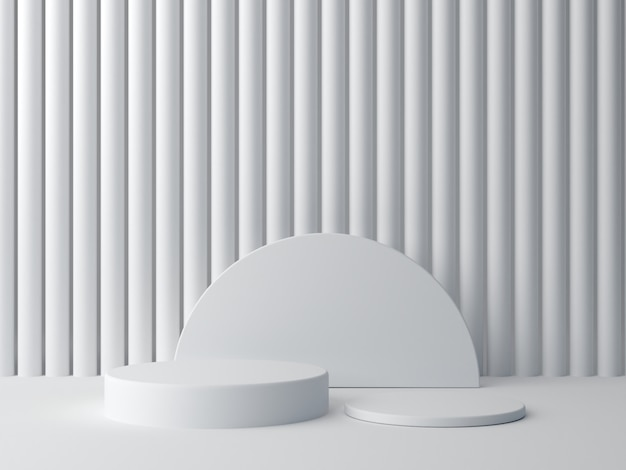 3d rendem. formas brancas sobre fundo branco abstrato. pódio de cilindro mínimo.
