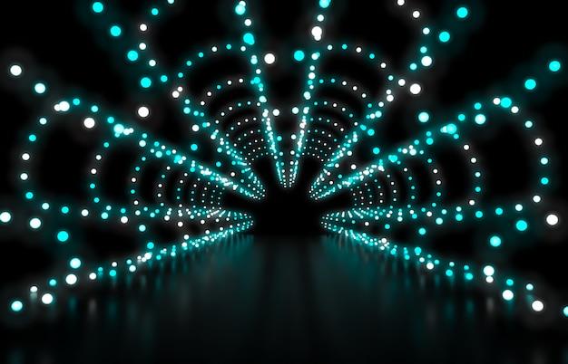 3d rendem. fundo abstrato da forma com luzes de néon verdes