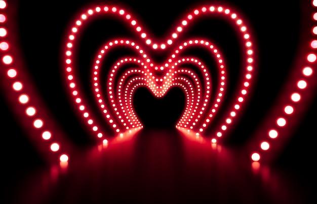 3d rendem. fundo abstrato da forma com luzes de néon vermelhas