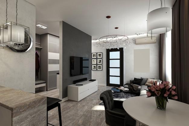 3d rendem. interior da sala de estar de espaço aberto.