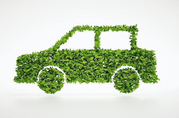 3d rendem isolado símbolo de carro de folha natural com fundo branco
