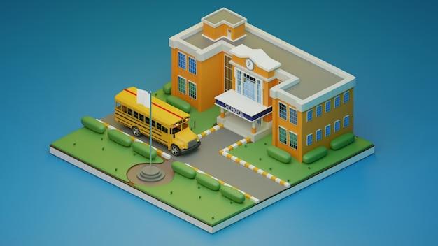 3d rendem isométrico., escola do criador da cena e ônibus escolar., ilustração 3d.