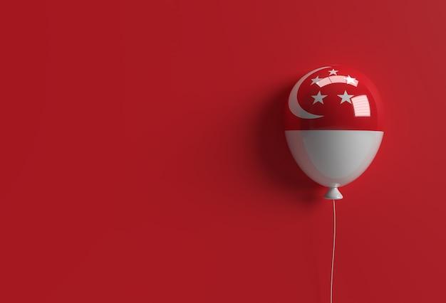 3d rendem o balão da bandeira de singapura do 9º dia da independência de cingapura.