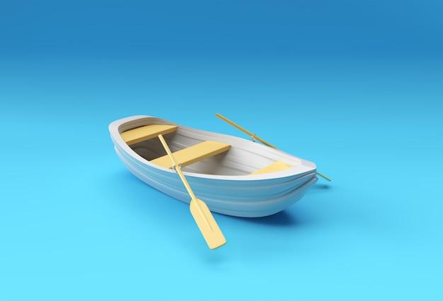 3d rendem o barco a remos velho isolado no fundo azul.
