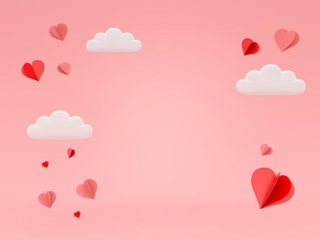 3d rendem o coração que flutua no fundo cor-de-rosa do romance para o dia dos namorados.
