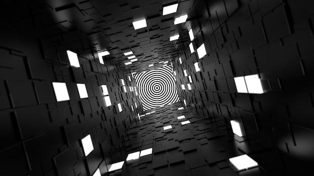 3d rendem o fundo abstrato. corredor longo. forma simples extrudada com polígonos quadrados aleatórios nas paredes. vários segmentos de parede são iluminados.