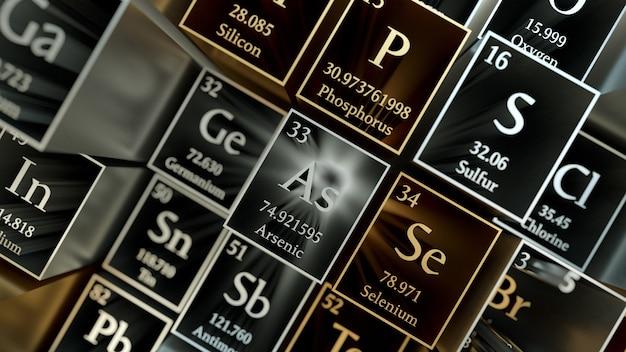 3d rendem o fundo químico abstrato. tabela periódica dos elementos. fragmento da tabela de mendeleev. material metálico.