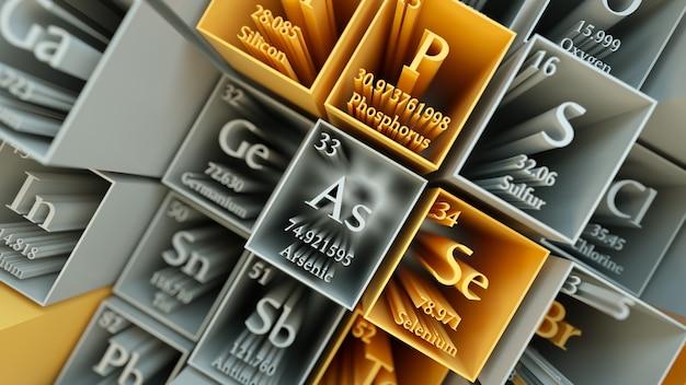 3d rendem o fundo químico abstrato. tabela periódica dos elementos. fragmento da tabela de mendeleev.