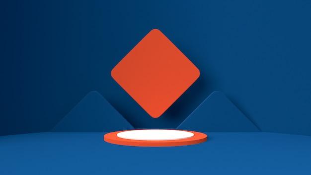 3d rendem o modelo do objeto, a forma abstrata e a geometria na cor vermelha e branca azul.