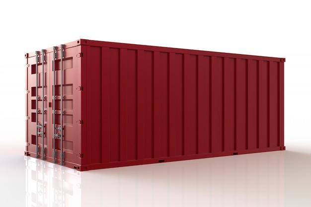 3d rendem o navio de recipiente da carga, a importação e a exportação, no fundo branco