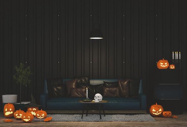 3d rendem o partido de dia das bruxas na sala de visitas com abóboras.