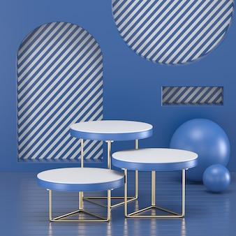 3d rendem o pódio azul clássico para o produto de exibição.