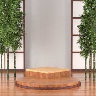3d rendem o pódio para o produto cosmético, estilo de calture de tradição de japão do pódio de madeira 3d.