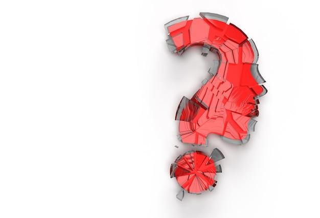 3d rendem o ponto de interrogação quebrado com o elemento de design da ilustração do ícone do rosto humano.