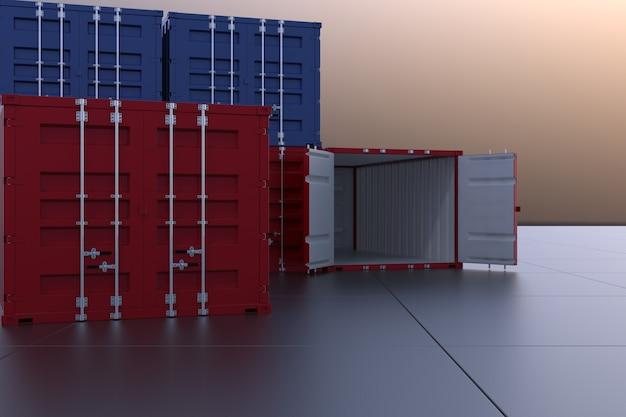 3d rendem o recipiente industrial para o negócio da exportação da importação
