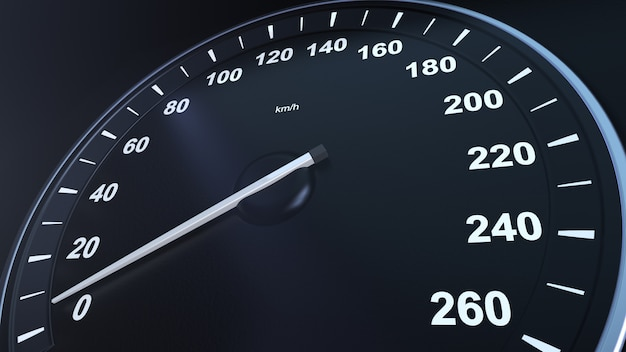 3d rendem o velocímetro do carro macroplane que ganha a velocidade