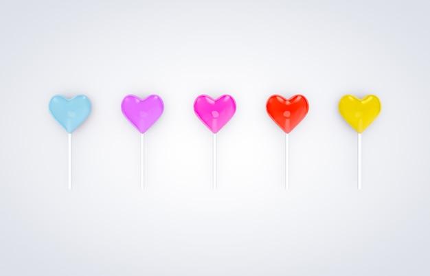 3d rendem. os doces doces do pirulito da forma do coração do dia de valentim no branco isolaram o fundo.