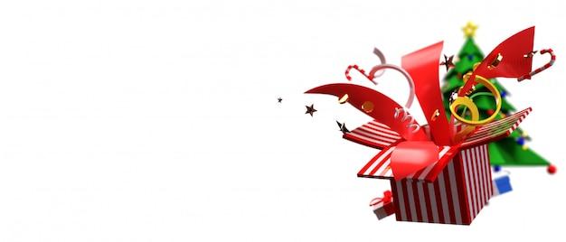 3d rendem para o conceito do natal e do ano novo feliz. consiste em árvores de natal, caixas de presente e belos brinquedos que explodem.