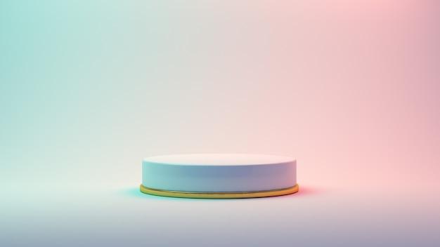 3d rendem plataformas abstratas com parte dourada. pódio realista