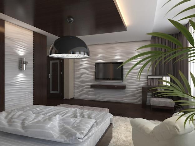 3d rendem quarto moderno em uma casa privada