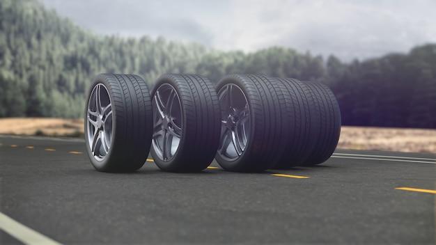3d render 4 rodas de carro dirigindo na estrada