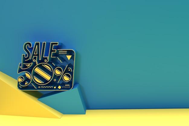 3d render abstract 50% sale off desconto banner design de ilustração 3d.