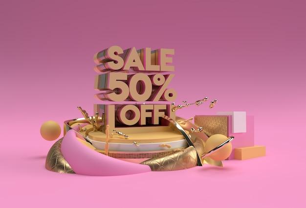 3d render abstract desconto de 50% na venda com desconto em publicidade de produtos de exibição. projeto da ilustração do cartaz do folheto.