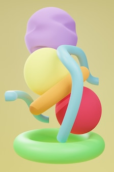 3d render abstract rounded shapes