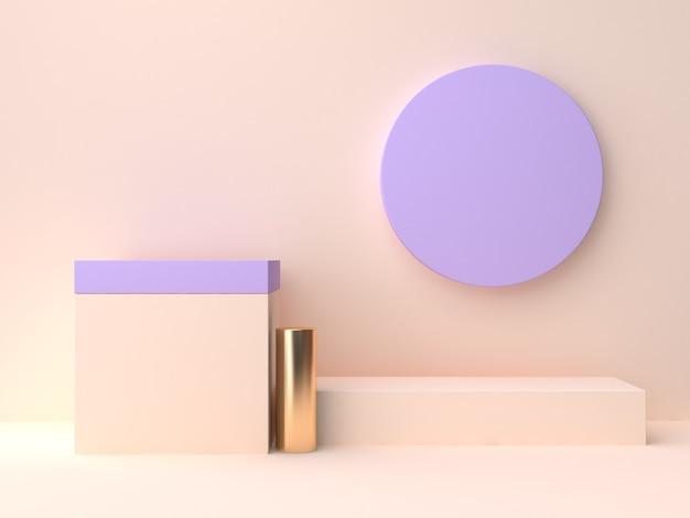 3d render abstrato creme violeta-roxo parede cena geométrica forma em branco pódio