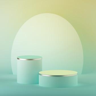 3d render abstrato menta amarelo pastel easter fundo, cilindro em branco pódio