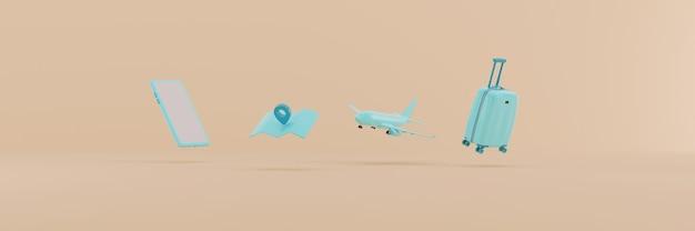 3d render acessórios de viagem azul claro em fundo bege