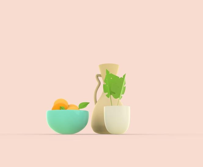 3d render ainda vida vses com ilustração de flores, frutas e plantas em vaso