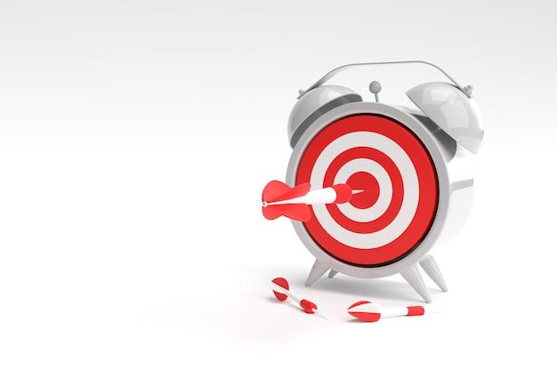 3d render alarm clock target with arrow gerenciamento de tempo, planejamento, segmentação de negócios e design de soluções inteligentes.