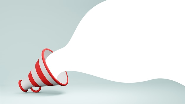 3d render alto-falante megafone branco e vermelho com bolha branca saindo em fundo azul claro