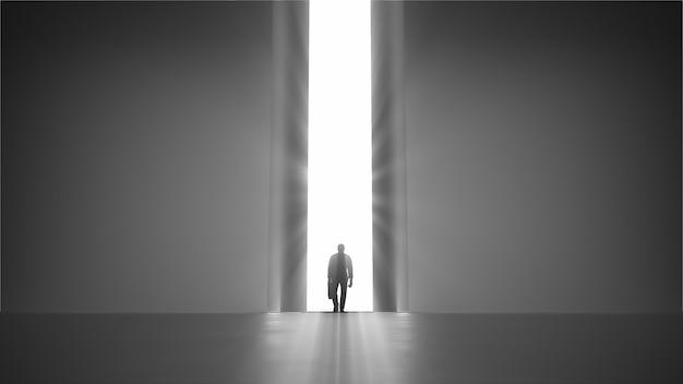 3d render andando homem com uma caixa para o portão de abertura com autorização