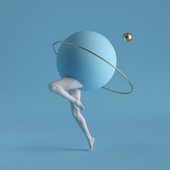 3d render, arte contemporânea surreal abstrata. anel de ouro de formas geométricas primitivas, bola, pernas brancas dançando isoladas sobre fundo azul.