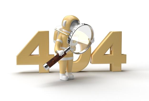 3d render astronaut holding magnify glass com 404 pen tool criado clipping path incluído no jpeg easy to composite.