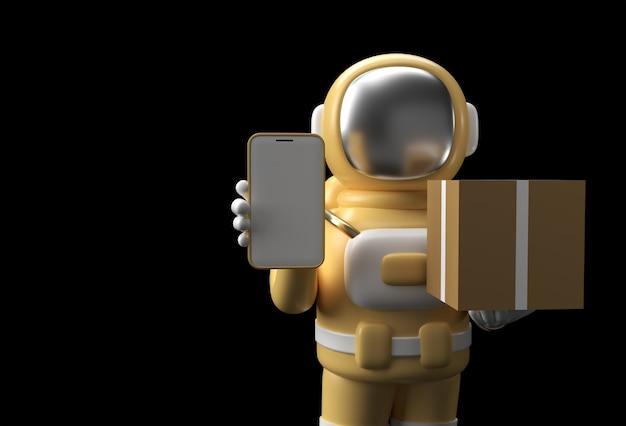 3d render astronaut man entregando um pacote com design de ilustração 3d de maquete móvel em branco.