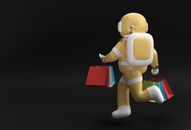3d render astronaut with shopping bags 3d illustration design.